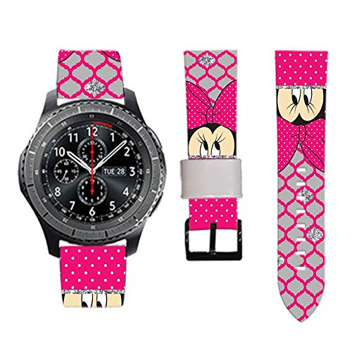 Mickey Mouse Minnie Mouse Gear S3 Band Frontier with Quick Release Pins 22mm Replacement Smart Watch Band for Samsung Gear S3 Frontier / S3 Classic Sports Smartwatch (94) ()
