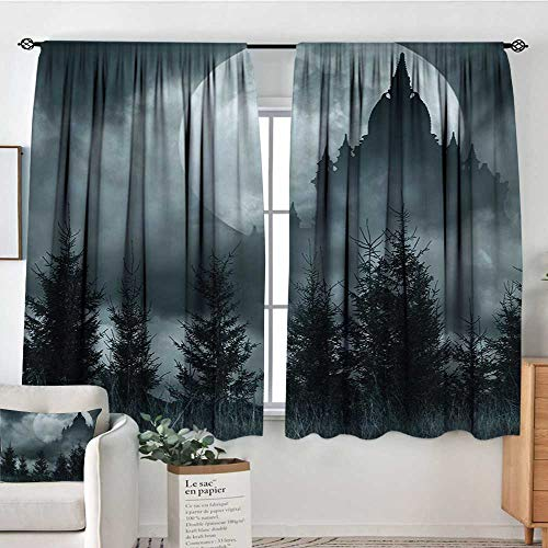 Halloween Window Curtain Drape Magic Castle Silhouette Over Full Moon Night Fantasy Landscape Scary Forest Drapes for Living Room 63