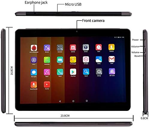 10 Inch Tablet Smartphone Phablet Unlocked 4G LTE,Android 9.0 Deca-Core Processor 2.8GHZ 6GB+64GB, 1920×1280 IPS HD Display,Dual Camera Bluetooth WiFi GPS 10.1″ Tablets PC Google Play (Black) 51UbuXXTAjL