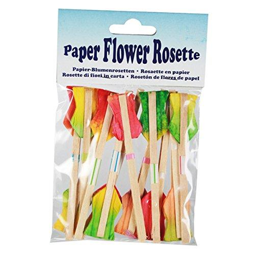 Set of 288 Coloured Paper Rosette Drink Decorations bar@drinkstuff Sunflower Cocktail Sticks
