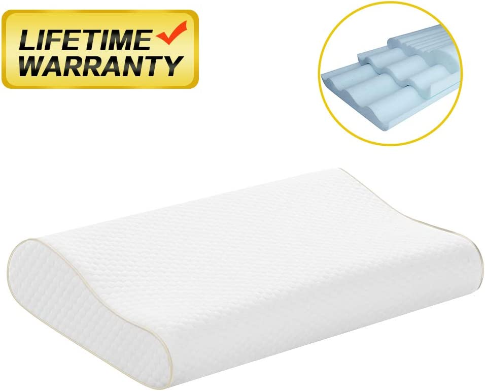 FREESHOW 【2020 Newest Version】 Memory Foam Pillow Height Adjustable Cervical Pillow for Neck and Shoulder Pain Orthopedic Contour Pillow for Sleeping Neck Pillow for Sleeping(2 Pillowcases )