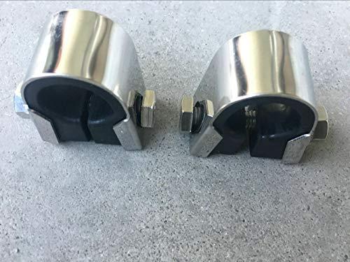 FidgetKute 2X Chrome Handlebar BAR Mounting Bracket Speedo clamp Gauge Rubber Mount 7/8