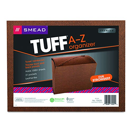 Smead TUFF Expanding File, 21 Pockets, Alphabetic (A-Z), Letter Size, Redrope (70425) ()