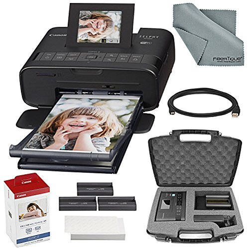 Canon SELPHY CP1200 Wireless Compact Photo Printer (Black) Bundle with Dedicated Case + Cable + Color Ink & Paper + FiberTique Cloth by Photo Savings