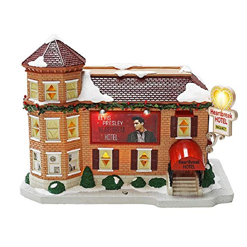 Dyno Seasonal Elvis Presley Heartbreak Hotel Christmas Village LED Illuminated & Musical Porcelain Building
