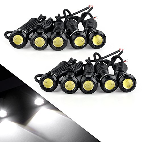 Eagle Eye Led, YITAMOTOR Universal 10pcs High Power White 9w LED Eagle Eye Bumper DRL Fog Light Motorcycle Light Daytime Running DRL Tail Backup Light Car Motor Clearance Marker Lights