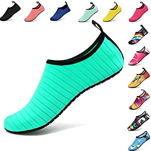 VIFUUR Water Sports Shoes Barefoot Quick-dry Aqua Yoga Socks Slip-on for Men Women Kids Green-38/39