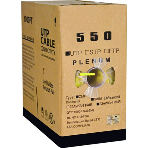 Cat6, UTP, 23AWG, 8C Solid Bare Copper, Plenum, 1000ft, Yellow, Bulk Ethernet - Plenum Category 6 Pair Cable