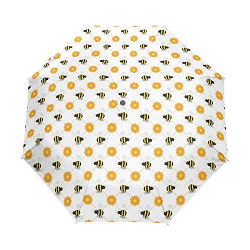 Compact Travel Umbrella Buzzy Bees Vector Windproof Automati -