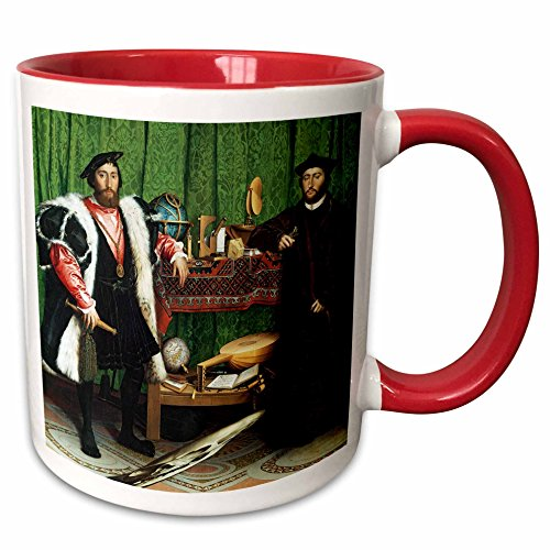 3dRose BLN Music Featured in Fine Art Collection - The Ambassadors, 1553 by Hans Holbein the Younger - 15oz Two-Tone Red Mug (mug_173831_10)