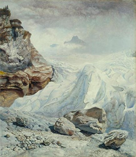 Oil Painting 'John Bretts - Glacier Of Rosenlaui,1856', 20 x 23 inch / 51 x 58 cm , on High Definition HD canvas prints is for Gifts And Garage, Nursery And Study Room Decoration, family - Company Aspen Bronze Pull