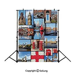 10x15Ft Vinyl England Backdrop for Photography,England City Red Telephone Booth Clock Tower Bridge River British Flag with Flowers Background Newborn Baby Photoshoot Portrait Studio Props Birthday Par