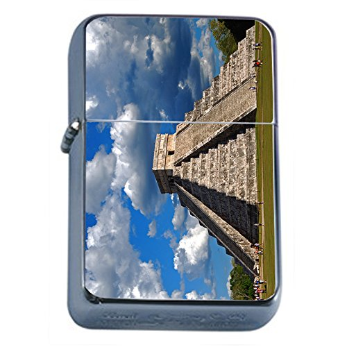 Price comparison product image Famous Landmark Mayan Pyramids Mexico S11 Flip Top Oil Lighter Smoking Cigarette Smoker Includes Silver Case