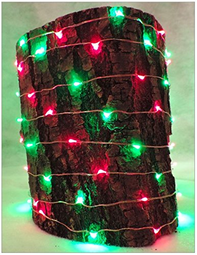 120 RED & GREEN Copper Wire LED Fairy Lights, 20 ft of bendable copper wire and a 13 ft black lead cord. 33ft total length. Includes Low Voltage AC Adapter