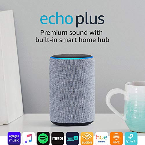 Certified Refurbished Echo Plus (2nd Gen) – Premium sound with a built-in smart home hub – Heather Grey Fabric