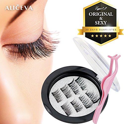 cd8d2ab7f4e Aliceva Magnetic Eyelashes x8 [Original] - Premium Magnet Quality / Best 3D  False Reusable Eyelash (8 piece) + Iron Plate Case + Plastic Eyelash  Tweezers ...