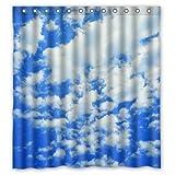 "Generic Unique Cloud Blue Sky Design Waterproof Polyester Fabric Bathroom Custom Novelty Shower Curtain 66"" x 72"""
