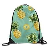 Pineapples Pattern DIY Printed Drawstring Bags Portable Backpack Pocket Bag Travel Sport Gym Bag Yoga Runner Daypack