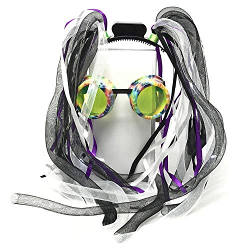 (Rave Glasses,Rave Accessories LED-Light up Dread Dreadlocks Headband Hair-Wig, Mardi Grass Costume)