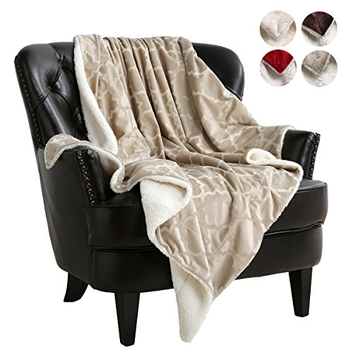 3D Pattern Khaki Blanket Reversible Sherpa Throws Light-Weight for Air Condition Room by VVFamily, (Fluffy Electric Blanket)