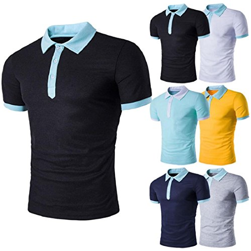 New Summer Men's Slim Polo Shirt Solid Color Short Sleeve Casual T-shirt Tee Top