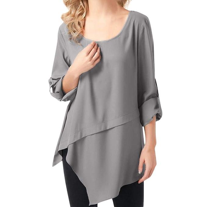 Blusa asimétrica para Mujer,Camisa Larga Casual con Cuello Redondo Gris Absolute