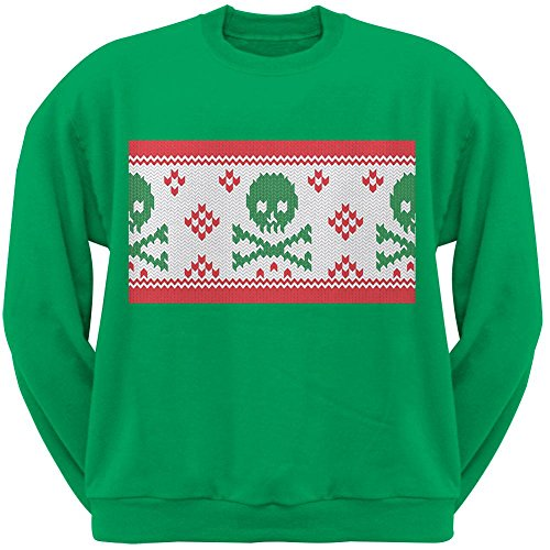 Knit Skull And Crossbones Ugly Christmas Sweater Green Adult Crew Neck Sweatshirt - (Skull And Crossbones Knit)