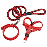 VV Dog Leash | Dog Walking Harness and Leash Set with Adjustable 4.9 ft Strap and Braided Rope for Extra Large Dogs | Sturdy Tangle-Free Waterproof Nylon Chrome Plating | Red Black | 1430.3