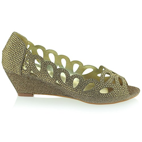 Mujer Señoras Noche Fiesta Boda Peeptoe Diamante Tacón de Cuña Sandalias Zapatos Talla Marrón