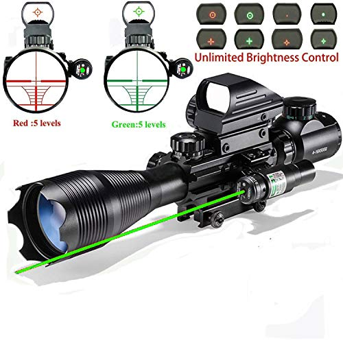Rifle Scope Combo C4-16x50EG with Laser and 4 Holographic Red&Green Dot Sight (Best Cqb Scope For Ar 15)