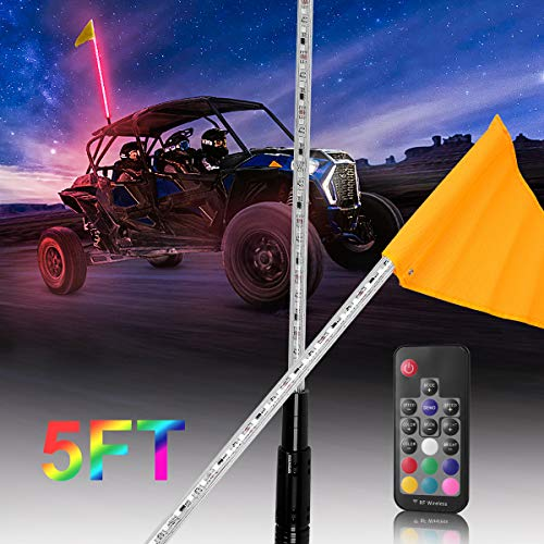ATV UTV LED Whip Lights Safety Flag Pole Antenna Lights Compatible with Polaris RZR Sand Dune Buggy Quad Truck Boat 5FT RGB (One Whip Lights,One Remote Control)