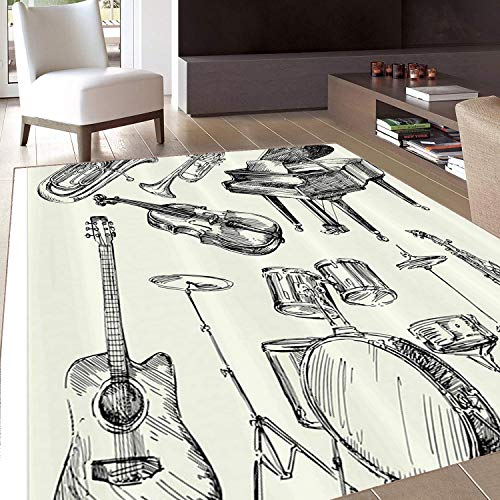 Rug,Floor Mat Rug,Jazz Music Stall,Area Rug,Illustration of Musical Instruments Sketch Style Art with Trumpet Piano Guitar,Home mat,3'x5'Mustard Earth Yellow,Rubber Non Slip,Indoor/Front Door/Kitchen ()