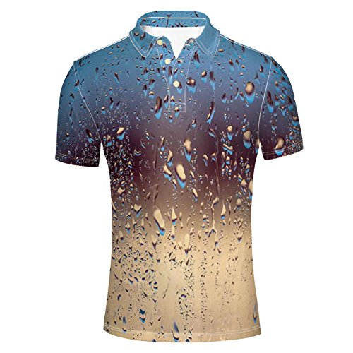 (iPrint Polo Shirt Natural Sprays Sphere Contrasting Colors for Mens)