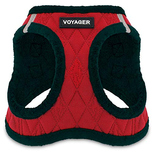 Supplies -  Step-in Plush Dog Harness with Padded Vest , (Red Base, Small) ()
