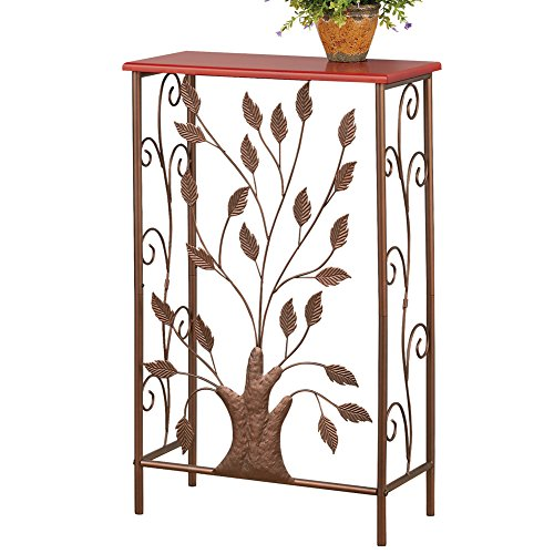 Collections Etc Iron Tree & Scroll Brown Wood Top Small Entryway Table for Hallway, Foyer, Mudroom