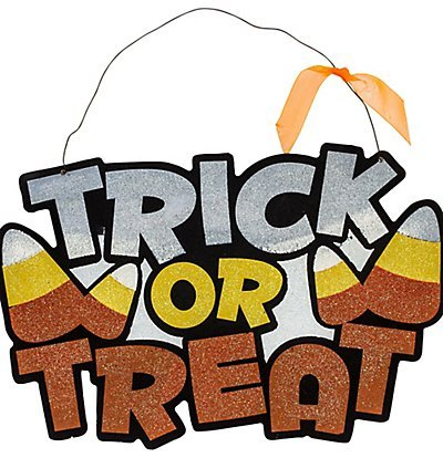 [Glitter Halloween Hanging Wall/Door Signs (Trick Or Treat)] (Trick Or Treat Costumes Images)