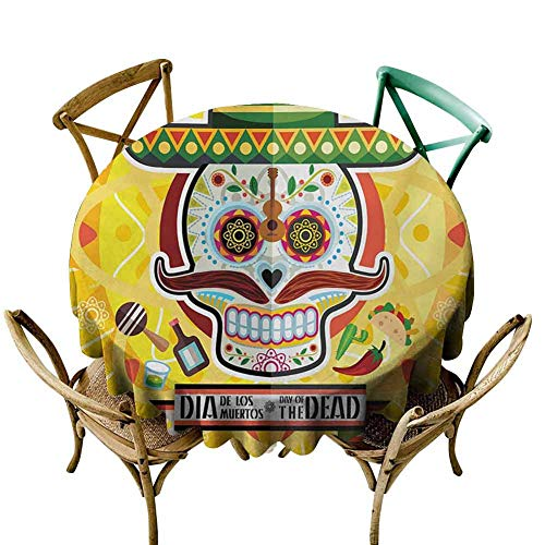 W Machine Sky Outdoor Picnics Day of The Dead,Mexican Sugar Skull with Tacos and Chili Pepper November 2nd Colorful Art Print,Yellow Diameter 70