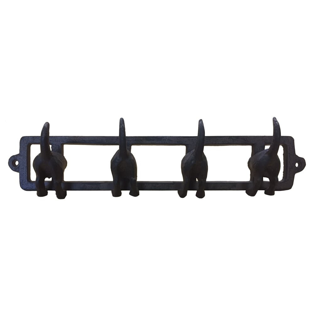 350 x 75 x 58mm Cast Iron Dogs Tails Hook Key Coat Rack Organiser