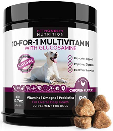 Cheap 10 in 1 Dog Multivitamin with Glucosamine – Essential Dog Vitamins with Glucosamine Chondroitin, Probiotics and Omega Fish Oil for Dogs Overall Health – Glucosamine for Dogs Joint Supplement Heart