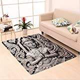 Nalahome Custom carpet tique Buddha in Traditional Thai Art with Swirling Floral Patterns Carving Japanese Decor Bronze area rugs for Living Dining Room Bedroom Hallway Office Carpet (6' X 9')