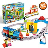 Minmi Motorized Train Set and Tracks Building Blocks - Battery Operated (107 Piece Set - Jumbo)