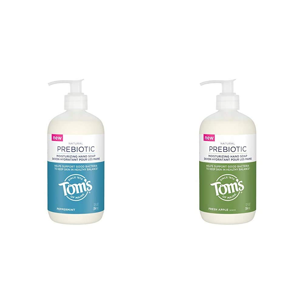 Tom's of Maine Prebiotic Moisturizing Natural Liquid Hand Soap, Peppermint, 12 oz. with Tom's of Maine Prebiotic Moisturizing Natural Liquid Hand Soap, Fresh Apple, 12 oz.