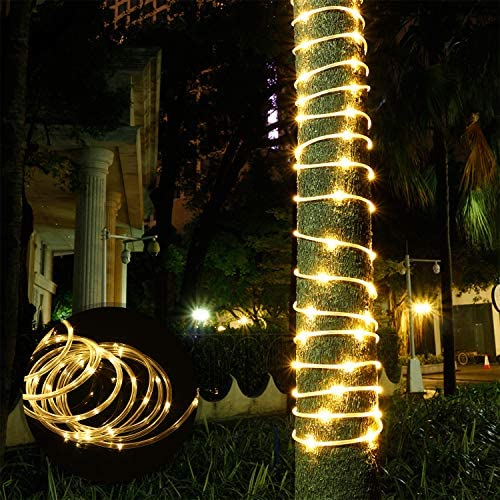 Solar String Lights Outdoor Rope Lights, 2 Pack 78.7Foot 20M 200 LED Waterproof Solar Rope Tube for Garden, Fence, Yard, Party, Wedding,Christmas Tree D cor 2 Pack 65 ft 200 LED