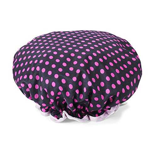 (Rose Dots Shower Cap, Double-layer Waterproof Bath Hat for Women )