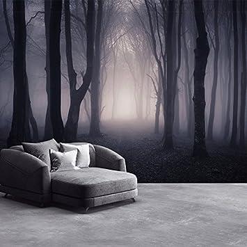 Dunkles Misty Woods Wandbild Wald und Bäume Foto-Tapete Schlafzimmer ...