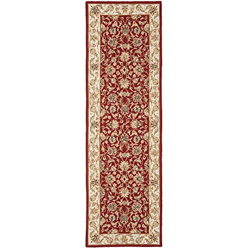 lection HK78B Hand-Hooked Burgundy and Ivory Premium Wool Runner (2'6