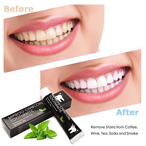 Activated Charcoal Teeth Whitening Toothpaste - Natural Organic Charcoal Toothpaste - Effectively Removes Smoke Stains, Coffee Stain & Bad Breath - Improve Oral Health by CareBoutique 105g