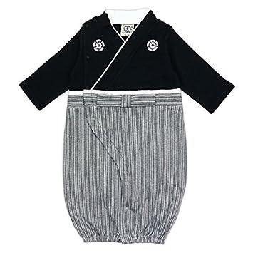 ddbed57f7cd51 ベビー 新生児 ベビー服 ツーウェイオール 兼用ドレス セレモニードレス 袴風 男の子 カバーオール 黒 50-