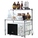 JS HOME Microwave Oven Rack, 2-tier Adjustable Kitchen Storage Shelf