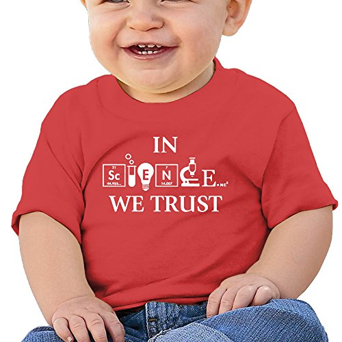 In Science We Trust Newborn Baby T Shirt Cotton Short Sleeve Size 18 Months Red Fashion